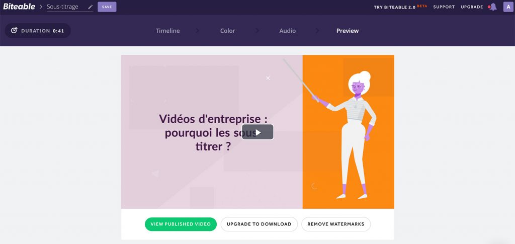 Test de Biteable : l'export final